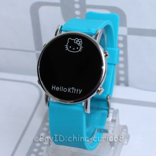 New Hello Kitty Watch Fashion LED Soft Silicone Wristwatch Skyblue