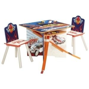 Hot Wheels Cars Track Table Chair Set, Includes 2 cars, Kids Toy Race