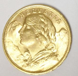 1949 B Swiss Helvetia 20F Gold Coin Excellent Condition