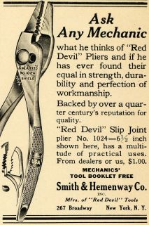 1922 Ad Smith Hemenway Hardware Tools Red Devil Pliers   ORIGINAL