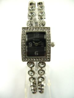 Ladies Henley Designer Watch Black Face with Silver Diamante Band H623