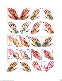 Glittered Henna Nail Body Art Tattoo Pair Self Adhesive
