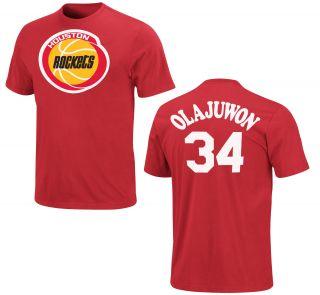 Houston Rockets Hakeem Olajuwon Red Name and Number NBA Jersey T Shirt