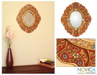 CRIMSON Artisan Handmade REVERSE PAINTED Glass OVAL Wall Mirror Novica