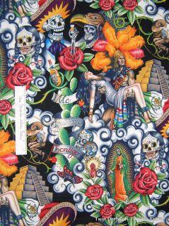 Contigo Aztec Warrior Virgin Skull Black   Alexander Henry Cotton YARD