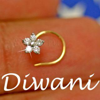 Real 5 Diamonds Flower 14k Gold Engagement Wedding Nose Ring Stud