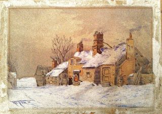 HENRY CHARLES FOX 1860 1929 WONDERFUL SIGNED WINTER LANDSCAPE