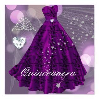 Purple Quinceanera 15th Birthday Party Custom Invites