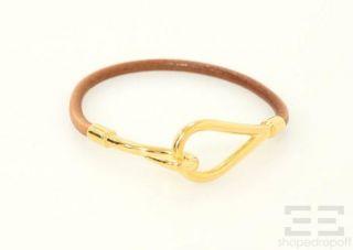 hermes brown leather gold plated jumbo hook bracelet