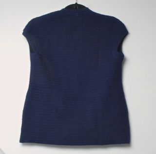 Vintage Hermes Jessy 100 Wool Navy Blue Sweater Vest with H