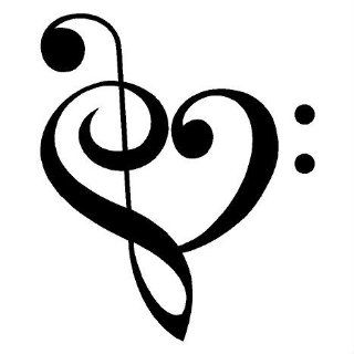 Music Heart decals wall saying vinyl lettering home decor