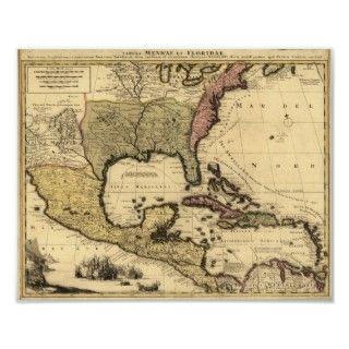 Mapa 1710 de México, del Caribe y de Noreamérica Posers de