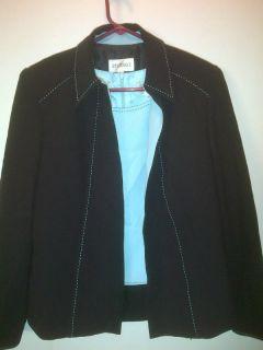 Studio I 2 Piece Set Size 8 Black Aqua Tank Jacket Shirt Blouse Top