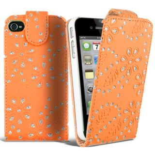 Diamond Leather Flip Case Cover Fits Apple iPhone 4 4S Free Screen