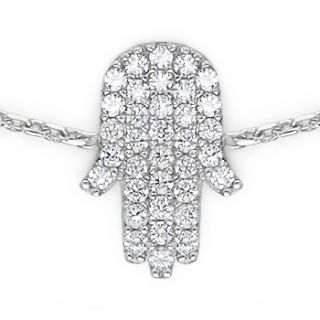Kabbalah Hamsa Charm Hand of Fatima Jewish 925 Sterling Silver Crystal