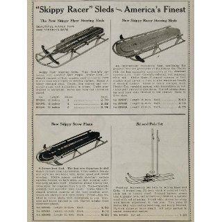 1937 Ad Skippy Racer Flyer Sled Snow Plane Ski Pole