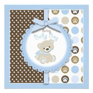 Welcome Bear Boy Invitation Square