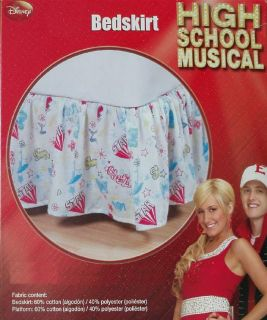 High School Musical Cheerleader Graffiti Print Full Bed Skirt Bedding