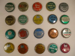 Mixed Lot 20 Vintage Unused Soda Bottle Cap Canada Dry Ginger Ale Pale