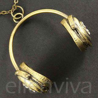 Big 2in Cool DJ Headphones Hip Hop Music Necklace Vintage Gold Tone