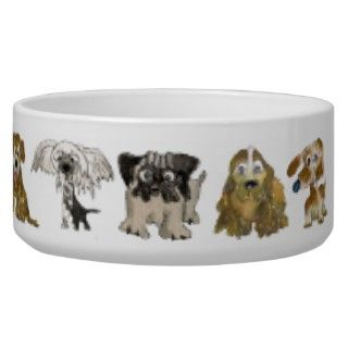Cute Dog Breeds Cartoon Puppies Doggie Dish Dog Bowls