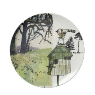 Bird, bird house and trees, collage illustration party plates