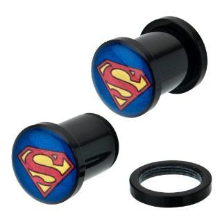 Black Acrylic Superman Logo Plugs Externally Threaded