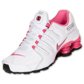 Girls Gradeschool Nike Shox NZ White/Metallic