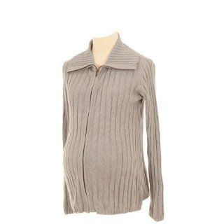 Lilo Maternity Ribbed Zip Sweater Heather Gray XS Baby