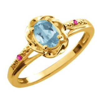 0.57 Ct Oval Sky Blue Topaz Pink Sapphire 14K Yellow Gold