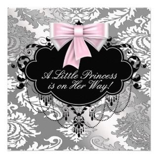 Silver Pink Black Princess Baby Girl Shower Custom Invites