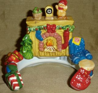 Christmas Fireplace Holiday Candle Topper