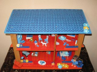 Old Vintage Dutch Holland Sio Doll House Blue Roof w Miniatures Tin