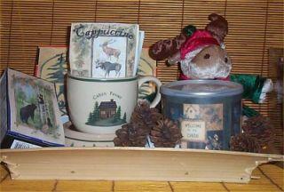 Lodge Cabin Chocolate Warmer Candy Mug Nuts Gift Basket