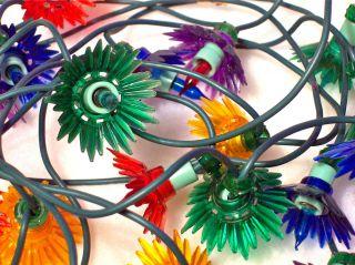 Vintage Christmas Mini Lights Covers Reflectors Multi Colored Plastic
