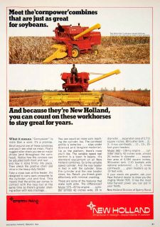 1968 Ad New Holland Sperry Rand Soybeans Combine Beans Farmer