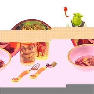 Shrek 2 6 Piece Plastic Dinnerware Set   Plate, Bowl