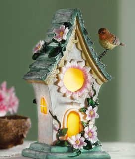 Home Decor Decorative Birdhouse w Bird Table Night Lamp