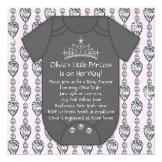 Princess Tiara Pink Black Baby Shower Personalized Invitations