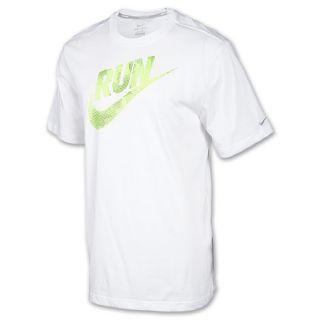 Mens Nike Run Swoosh Running T Shirt White