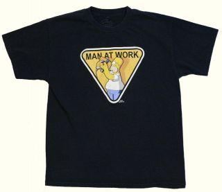 Homer Simpson Man at Work Funny T Shirt Large