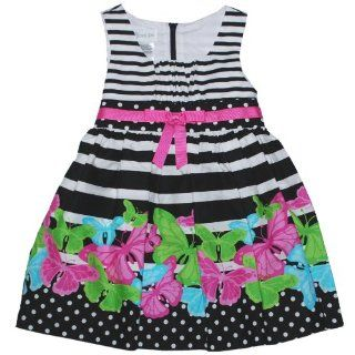 Bonnie Jean Girls 2T 4T Black/White Stripe Butterfly Dress
