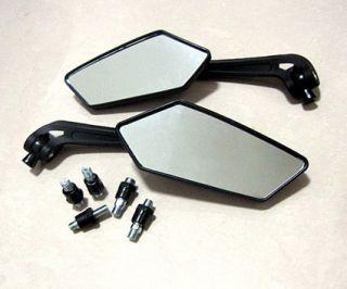 Side Mirrors Black For Motorcycle Scooter Yamaha Honda Suzuki Kawasaki