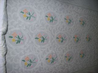 Vintage White and Green Flowered Chenille Full Bedspread