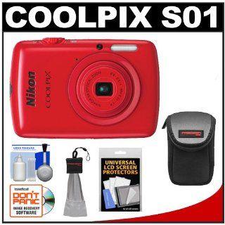 Nikon Coolpix S01 Digital Camera (Red) with Case + Spudz