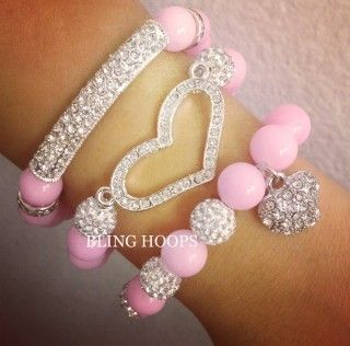 Pink Rhinestone Swarovski Heart Bracelet Set Friendship Honesty