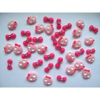 Nail Art 3d 40 Piece Pink/Hot Pink Skull & BOW/RHINESTONE