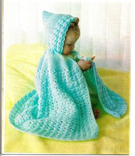 Baby Infant Lacy Hooded Cape Crochet Pattern Sz 18 19 Chest