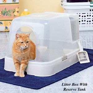 New Cat Litter Box with Reserve Litter Tank w Scoop