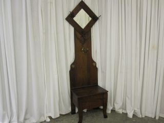 Antique Hall Tree w Bevel Mirror Brass Hooks and Swing Arm Candle